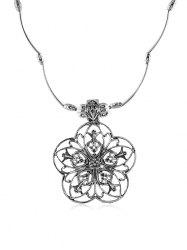 Retro Hollow Out Flower Necklace -