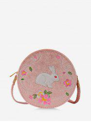 Rabbit Embroidery Floral Pattern Canteen Bag -