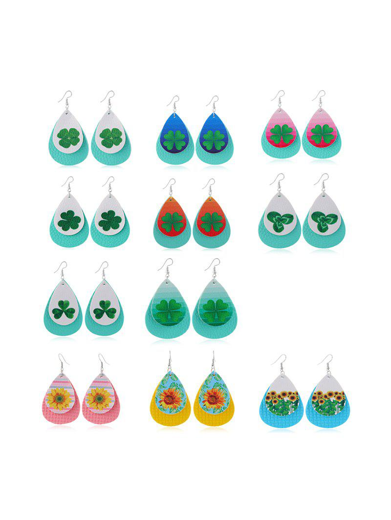 Discount 11Pairs Clover Sunflower Print Layers Earrings Set