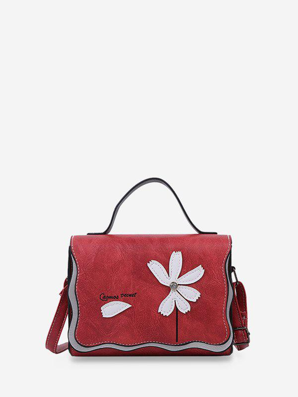 Affordable Flower Stitching PU Leather Cross Body Bag