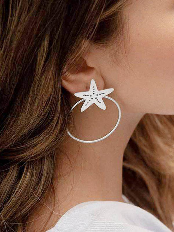 Unique Hollow Starfish Circle Stud Earrings