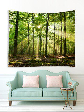 Sunlit Forest Print Tapestry Wall Hanging Decor, Green onion