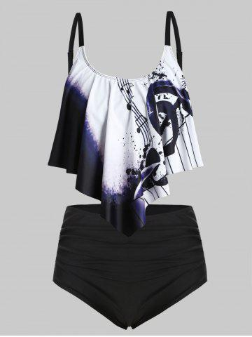 Plus Size Musical Notes Print Overlay Tankini Swimsuit