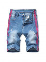 Ripped Contrast Paint Denim Shorts -