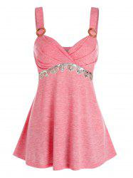 Ruched O-ring High Waist Sequined Tank Top -