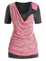 Cowl Front O Ring Space Dye Plus Size Top -