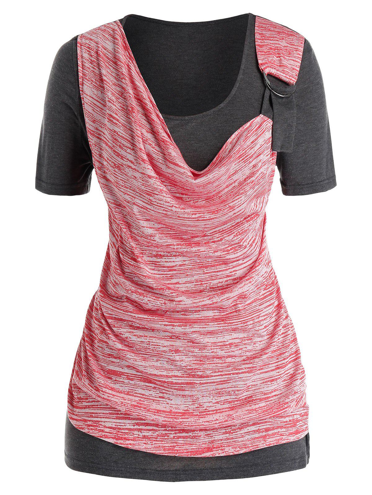 Online Cowl Front O Ring Space Dye Plus Size Top