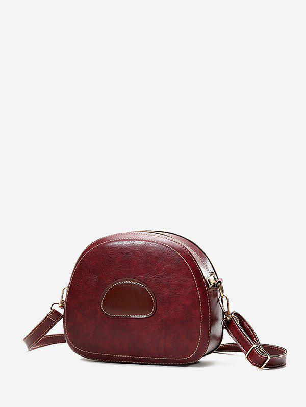 Sale Color Block PU Leather Spliced Crossbody Bag