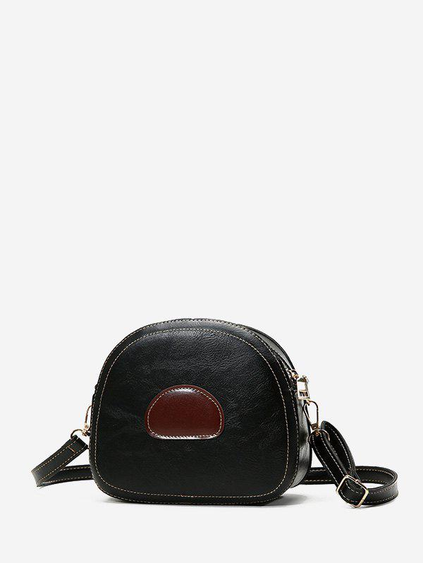Chic Color Block PU Leather Spliced Crossbody Bag