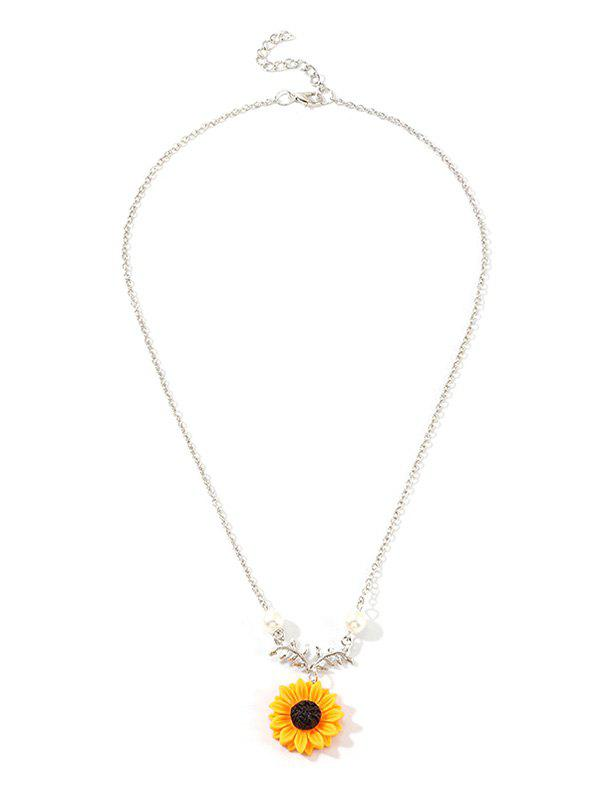 Trendy Sunflower Leaf Pendant Faux Pearl Necklace