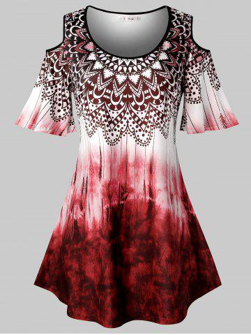 Plus Size Tie Dye Tribal Print Cold Shoulder T Shirt - CHERRY RED - 3X