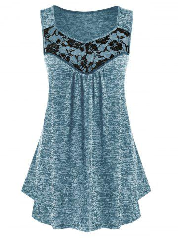 Plus Size Lace Panel Marled Tank Top - BLUE GRAY - 1X