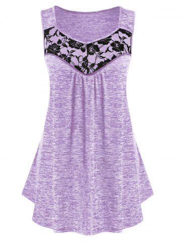 Plus Size Lace Panel Marled Tank Top - MAUVE - 2X