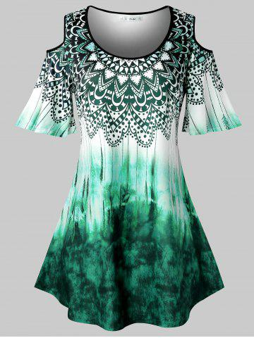 Plus Size Tie Dye Tribal Print Cold Shoulder T Shirt - MEDIUM TURQUOISE - 3X