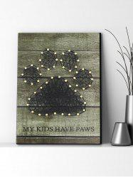 Paw Pattern Nails and Rope Decorative DIY Frame Painting -