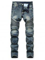 Light Wash Multi Pockets Tapered Jeans -