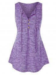 Plus Size Buttons Marled Tank Top -