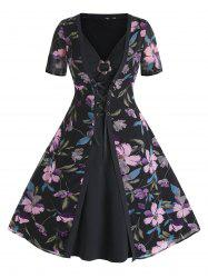 Plus Size Flare Dress and Lace Up Floral Cardigan Set -