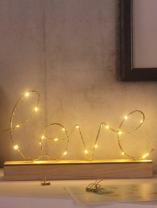 Outfits Letters Pattern Wooden Base Decorative LED Night Light