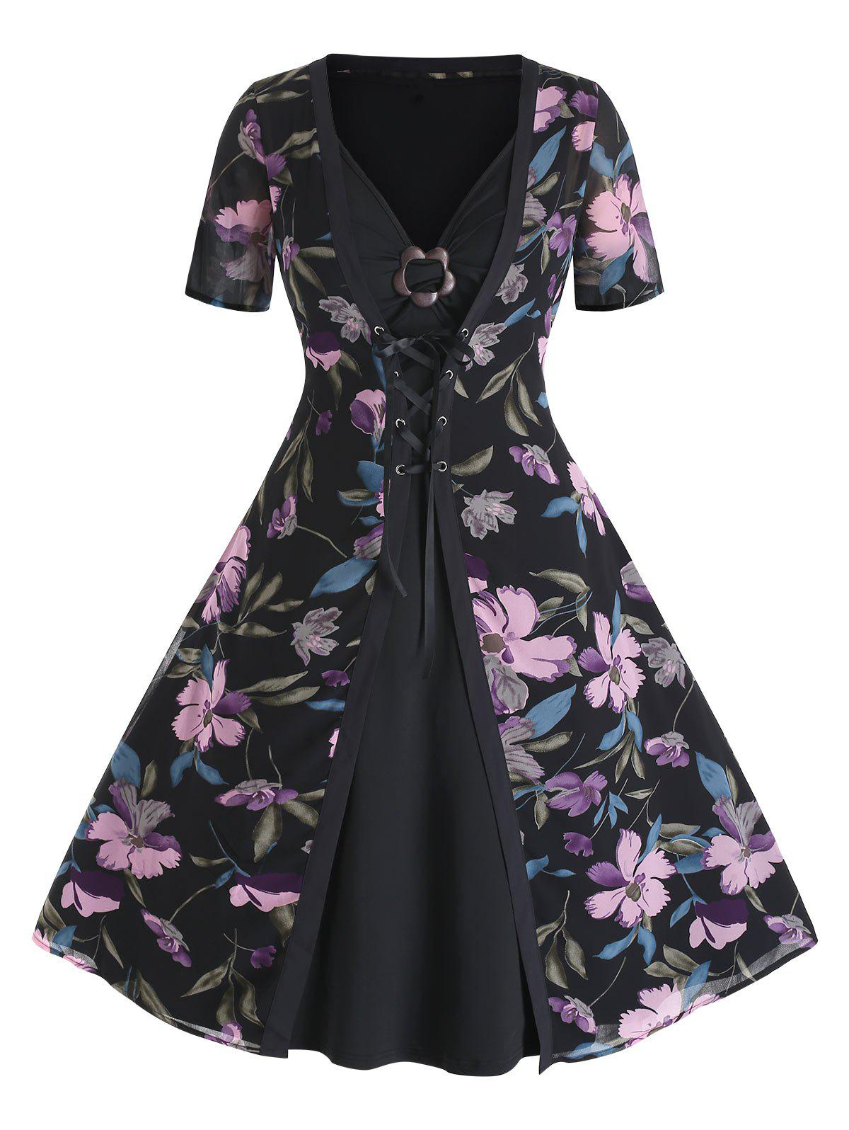 Chic Plus Size Flare Dress and Lace Up Floral Cardigan Set