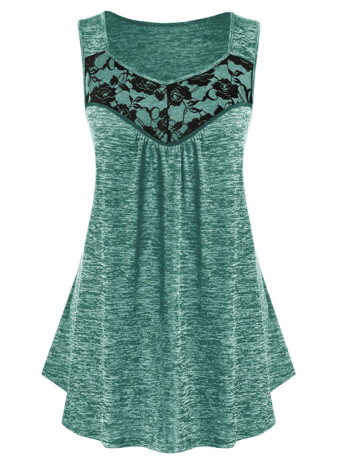 Outfit Plus Size Lace Panel Marled Tank Top