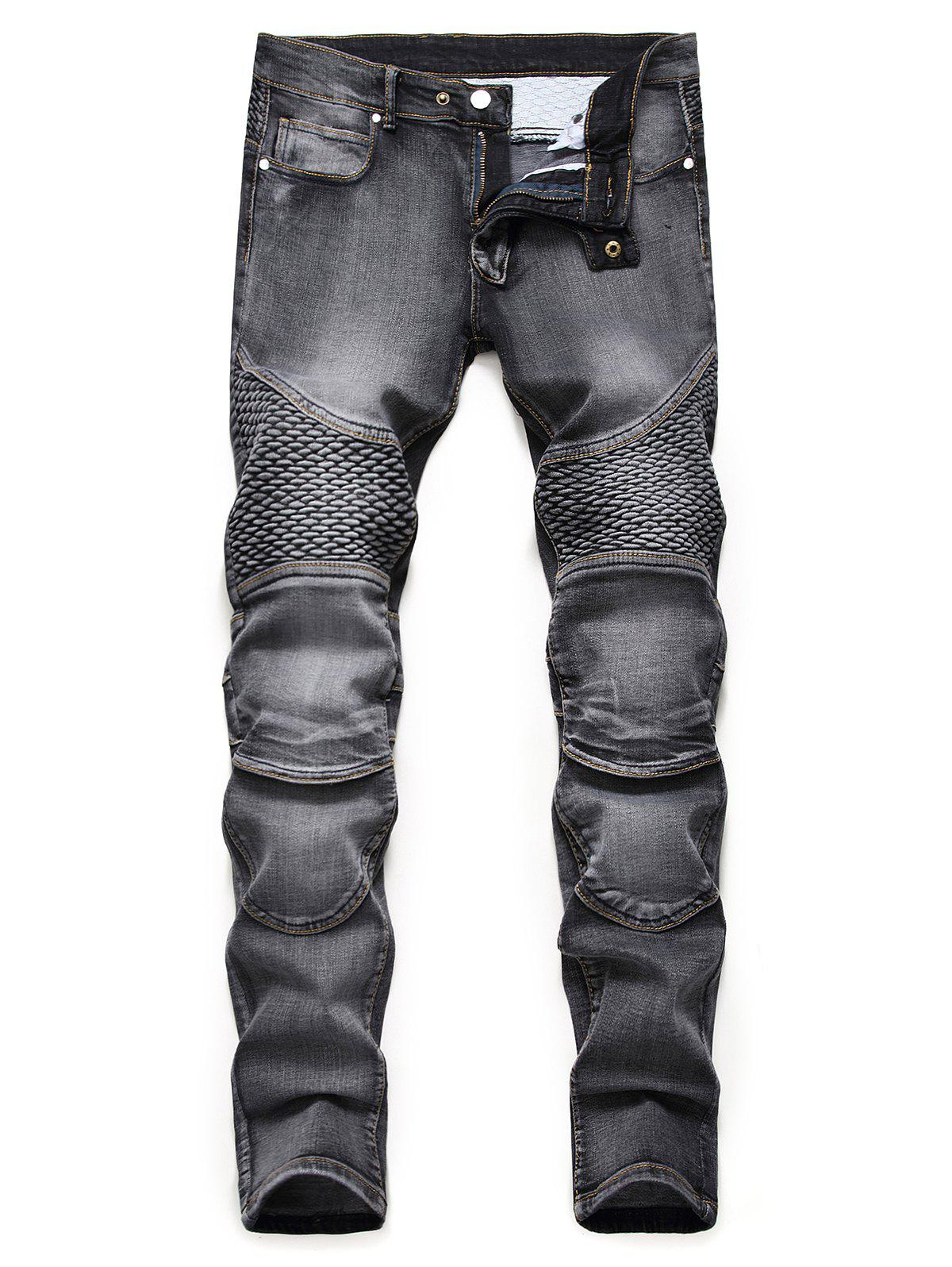 Cheap Light Wash Multi Pockets Tapered Jeans