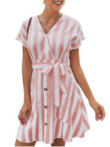 Striped Mini Surplice Dress
