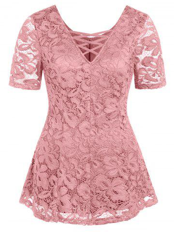 Plus Size Plunging Neck Lace See Thru T Shirt - PIG PINK - 1X