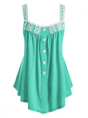 Plus Size Tunic Contrast Square Collar Tank Top - MACAW BLUE GREEN - 2X