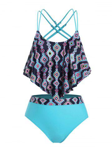 Plus Size Ruffled Overlay Geometry Tankini Swimwear - DODGER BLUE - 1X