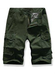 Letter Patched Multi-pocket Cargo Shorts -