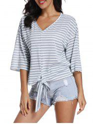 Front Tie Striped T Shirt -