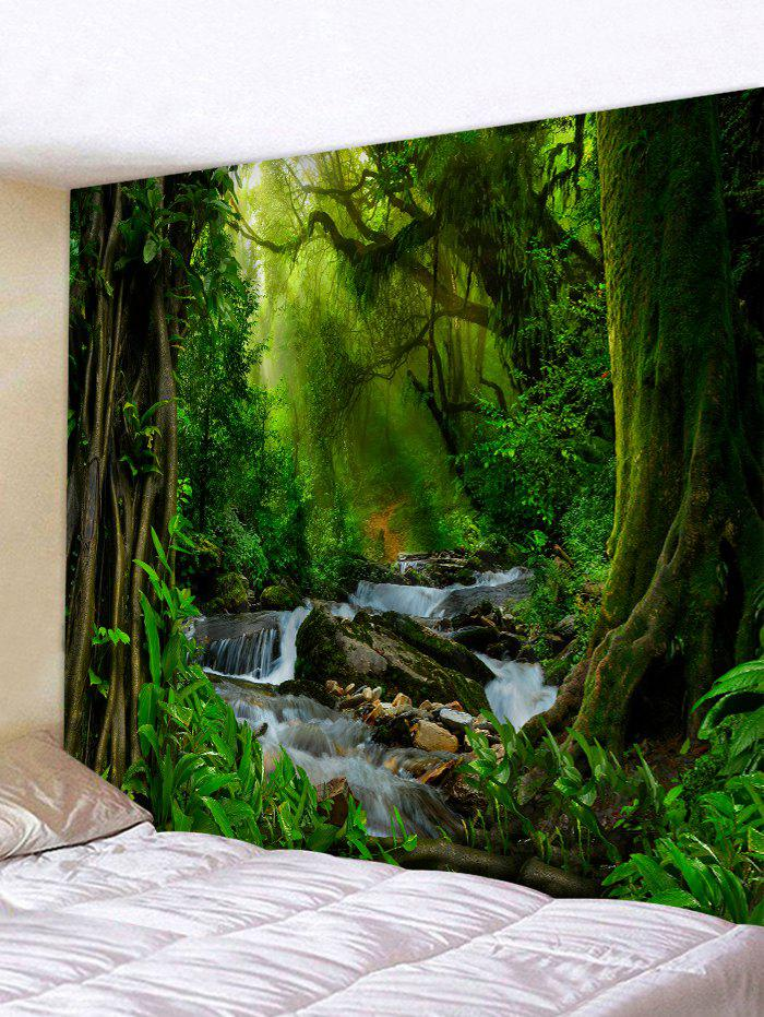 Sunshine Forest River Print Tapestry Wall Hanging Art Decoration, Multi