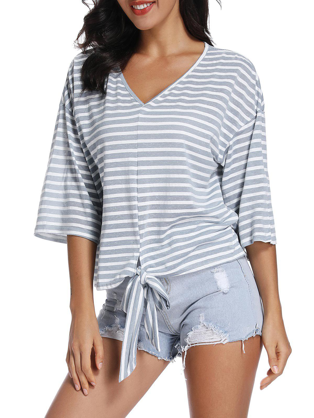Latest Front Tie Striped T Shirt