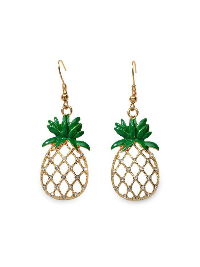 Outfit Hollow Out Rhinestone Pineapple Drop Earrings