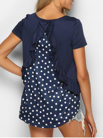 Polka Dot Ruffled Asymmetrical Tee