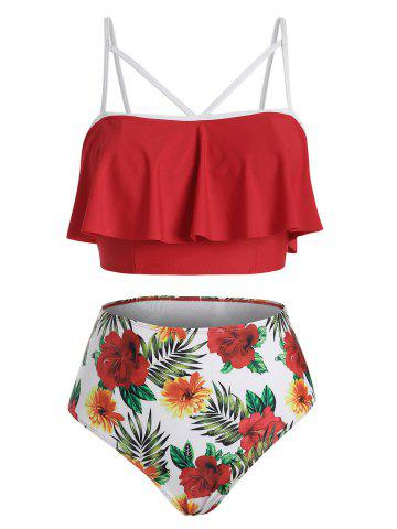 Flounces Floral Strappy Tankini Swimwear - RED - 3XL