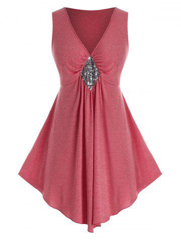 Plus Size Plunging Neck Sequin Tank Top - BEAN RED - 5X