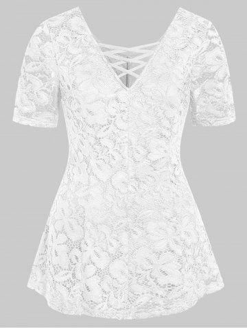 Plus Size Plunging Neck Lace See Thru T Shirt - WHITE - 3X
