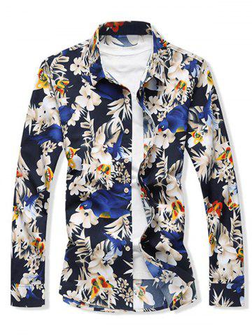 Flower and Butterfly Print Long Sleeve Shirt - BLUE - XL