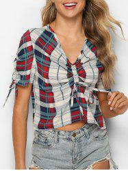 Plaid Cinched V Neck Top - Multi-A 2XL