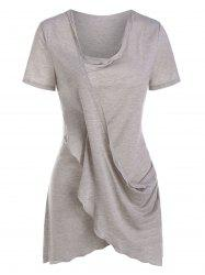 Asymmetric Crossover Draped T Shirt -