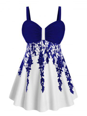 Ruched Floral Skirted Plus Size Tankini Swimsuit - DEEP BLUE - L
