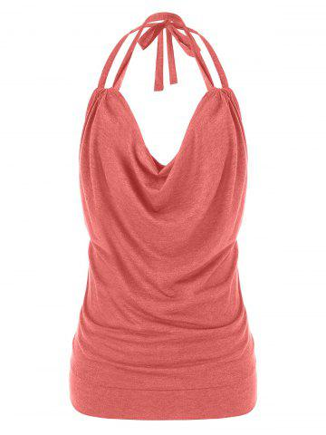 Plus Size Cowl Front Halter Open Back Tank Top - LIPSTICK PINK - 5X