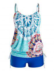 Plus Size Cinched Tribal Print Tankini Swimwear -