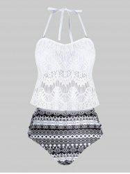 Plus Size Geometry Lace Overlay Tankini Swimwear -