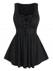 Lace-up Lace Insert Flare Tank Top -