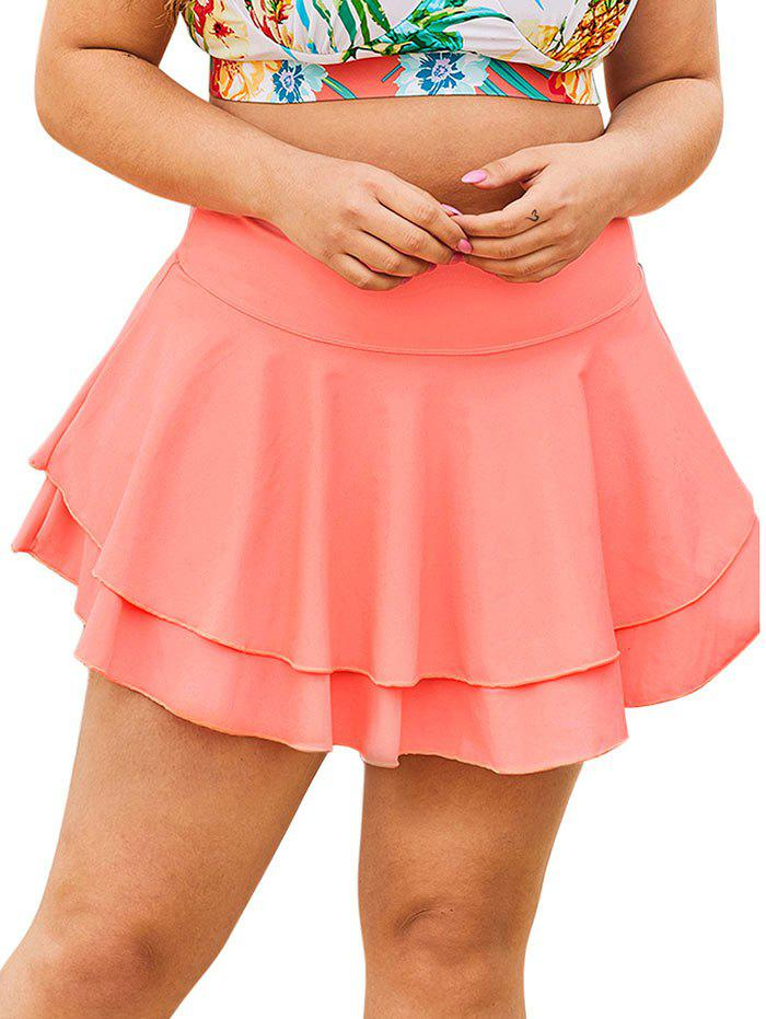 Discount Solid Layered Skirted Plus Size Swim Bottom