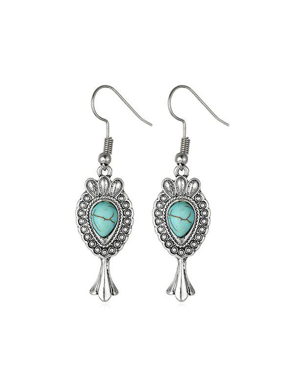 Outfits Bohemian Carved Turquoise Drop Earrings