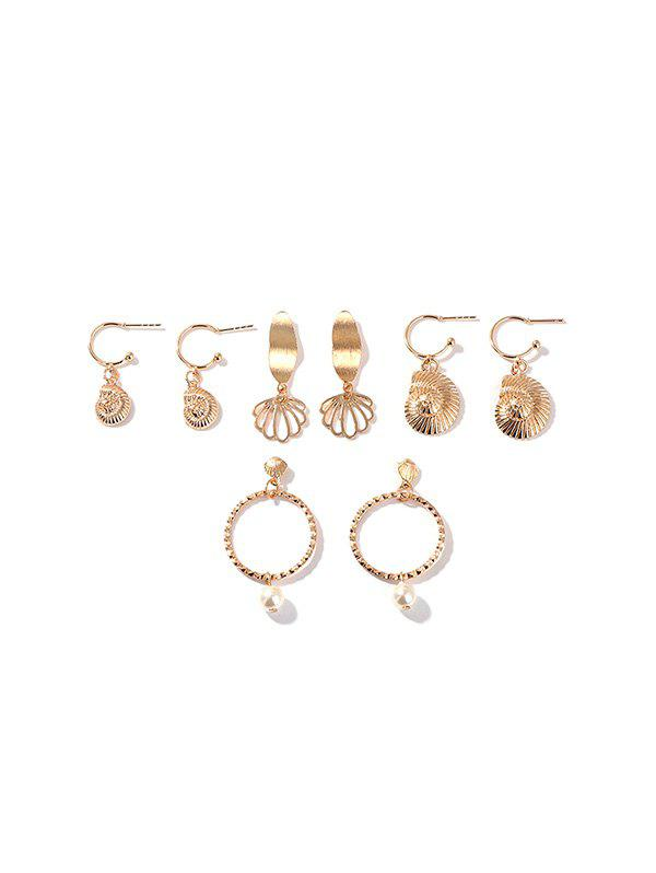 Best 4 Pairs Faux Pearl Hollow Shell Earrings Set